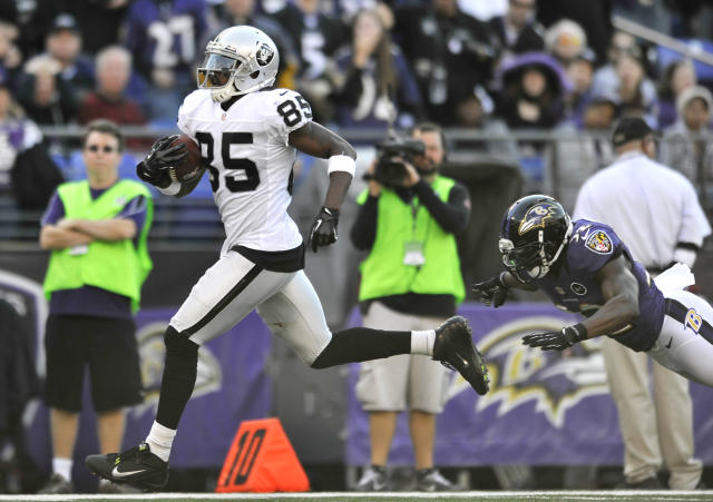 Oakland Raiders wide receiver Darrius Heyward-Bey, left, runs past Baltimore Ravens defensive back James Ihedigbo for a touchdown in the first half of an NFL football game in Baltimore, Sunday, Nov. 11, 2012. (AP Photo/Gail Burton)