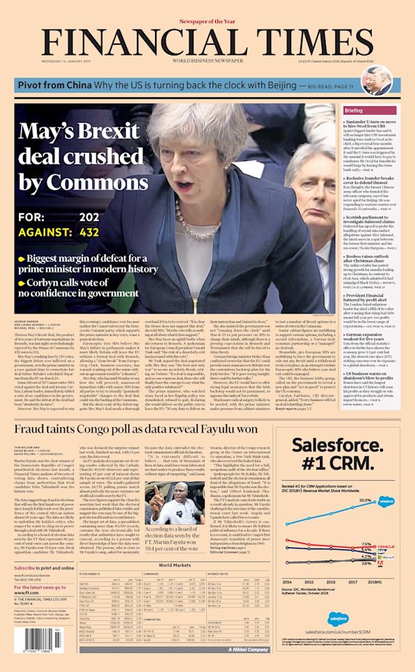 "<p>The Financial Times said the prime minister's deal was ""crushed"" (Picture: Finanical Times) </p>"