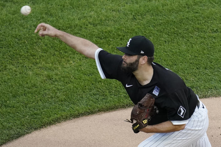 Chicago White Sox starting pitcher Lance Lynn throws to a Detroit Tigers batter during the first inning of a baseball game in Chicago, Thursday, June 3, 2021. (AP Photo/Nam Y. Huh)