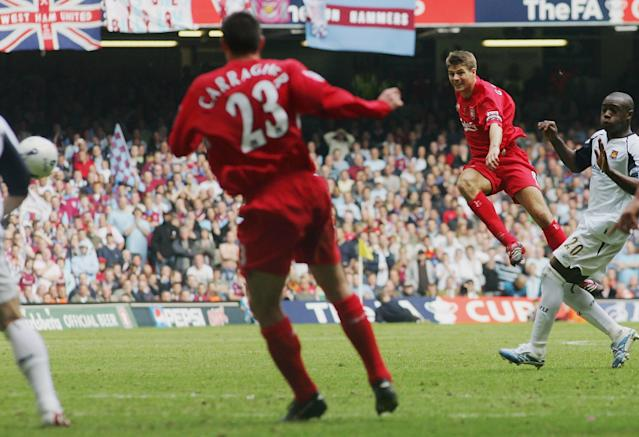 Gerrard scores Liverpool last-gasp equaliser (Photo by Stu Forster/Getty Images)