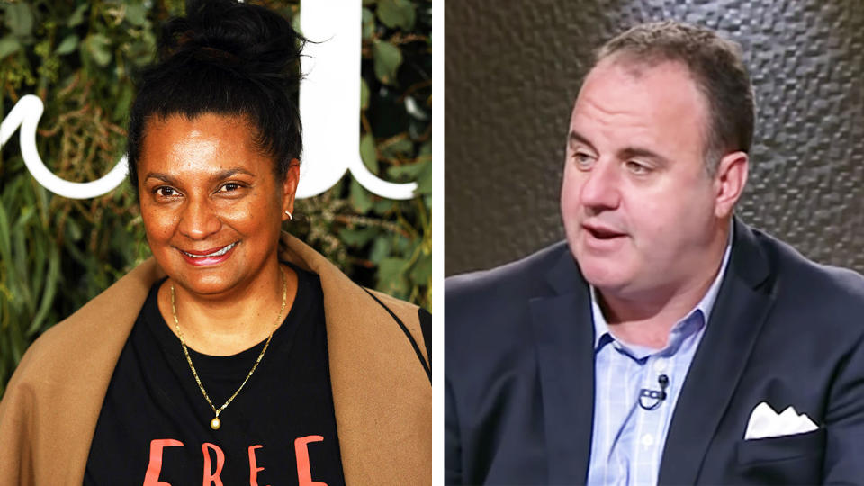 Nova Peris (pictured left) posing for photos and Footy Classified host Craig Hutchison (pictured right) talking on the show.