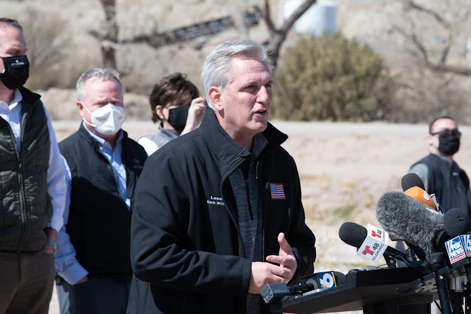 House Minority Leader Kevin McCarthy addresses the press during the congressional border delegation visit to El Paso, Texas on March 15, 2021. (Justin Hamel / AFP via Getty Images)