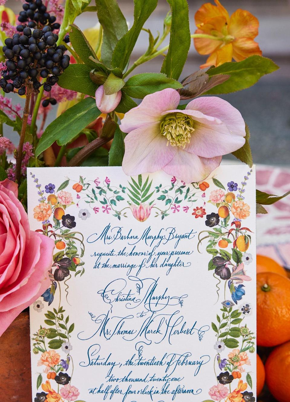 """This is our wedding invitation by <a href=""""https://www.stephaniefishwick.com/"""" rel=""""nofollow noopener"""" target=""""_blank"""" data-ylk=""""slk:Stephanie Fishwick"""" class=""""link rapid-noclick-resp"""">Stephanie Fishwick</a>. She created this font especially for us!"""
