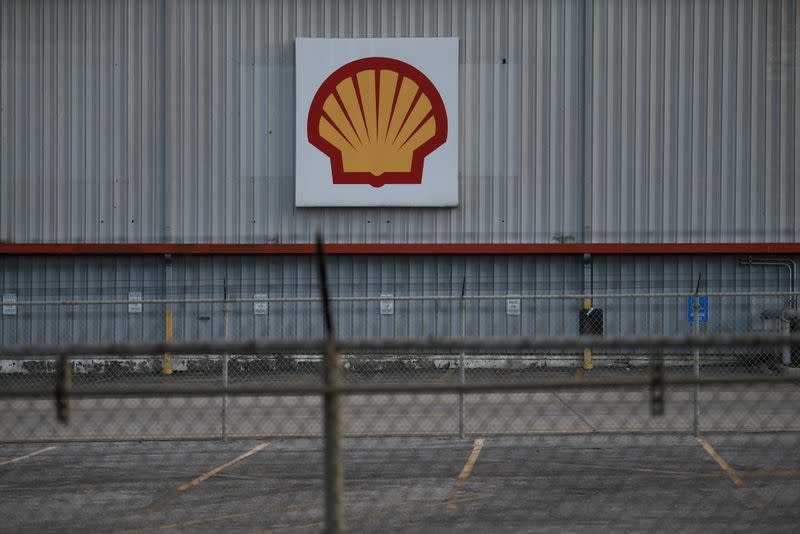 FILE PHOTO: A sign is seen at a Shell facility near the Houston Ship Channel in Galena Park