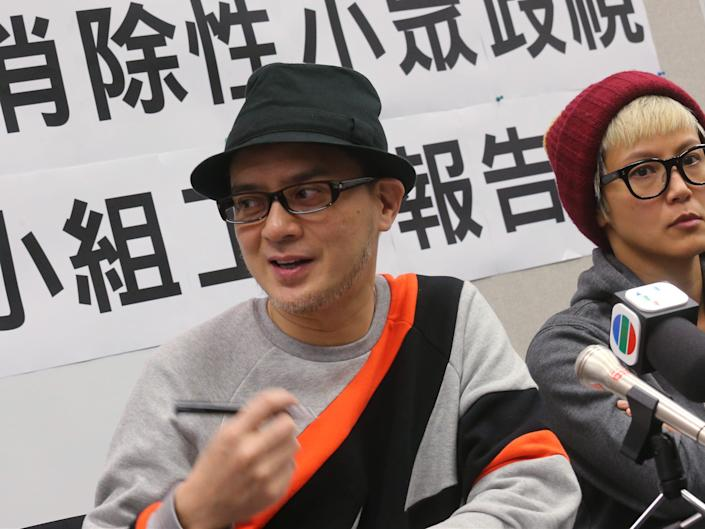 Singer Anthony Wong Yiu-Ming (L) and Singer Denise Ho Wan-see (R) attend a press conference on a report submitted by the Advisory Group on Eliminating Discrimination against Sexual Minorities to the Hong Kong government, January 21, 2016.