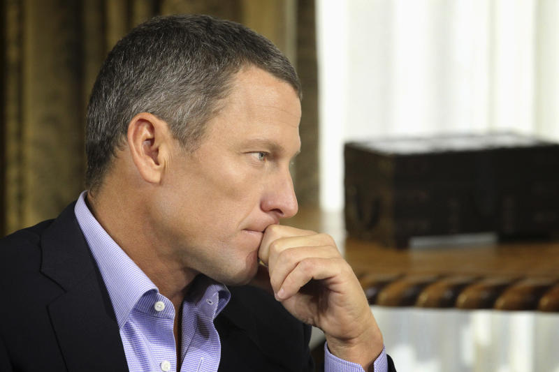 "In this Monday, Jan. 14, 2013 photo provided by Harpo Studios Inc., cyclist Lance Armstrong listens to a question from Oprah Winfrey during taping for the show ""Oprah and Lance Armstrong: The Worldwide Exclusive"" in Austin, Texas. The two-part episode of ""Oprah's Next Chapter"" will air nationally Thursday and Friday, Jan. 17-18, 2013. (AP Photo/Courtesy of Harpo Studios, Inc., George Burns)"
