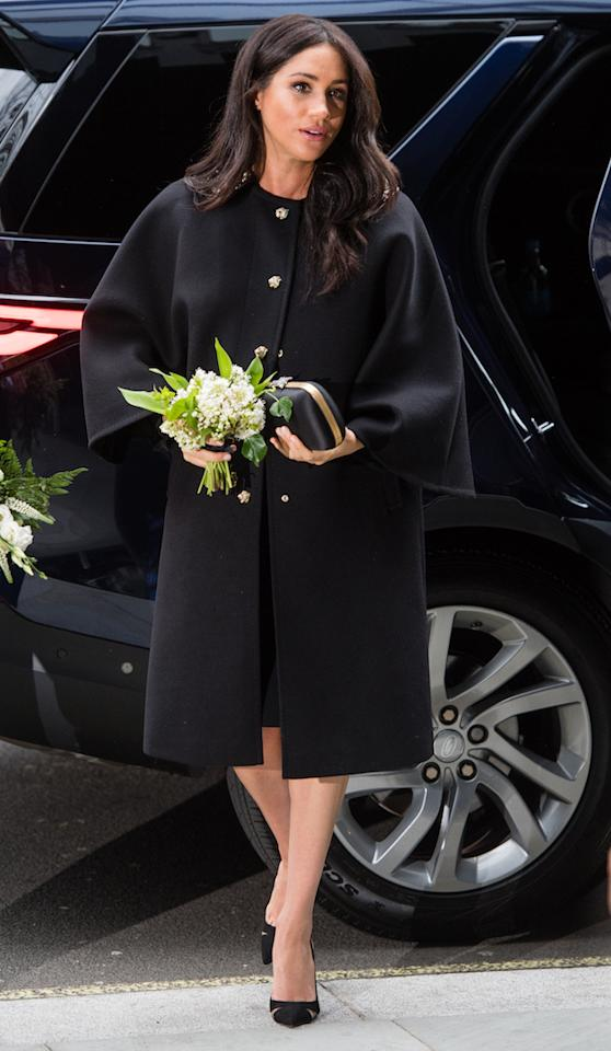 <p>In an unannounced event, the Duchess of Sussex signed a book of condolence at New Zealand House. She chose an all-black ensemble for the engagement with Aquazurra heels and the earrings gifted to her by New Zealand Prime Minister Jacinda Ardern. <em>[Photo: Getty]</em> </p>