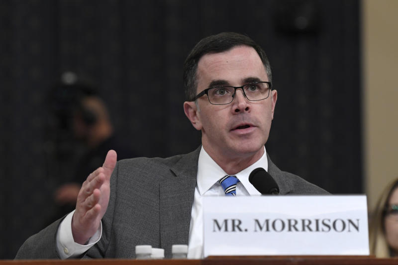 Tim Morrison, a former official at the National Security Council, testifies before the House Intelligence Committee on Capitol Hill in Washington on Nov. 19, 2019. (Susan Walsh/AP)