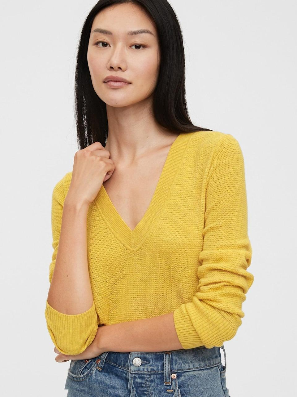 <p>There's something sultry about this <span>Gap True Soft V-Neck Sweater</span> ($39). The deep v-neck is perfect with a layer of necklaces.</p>