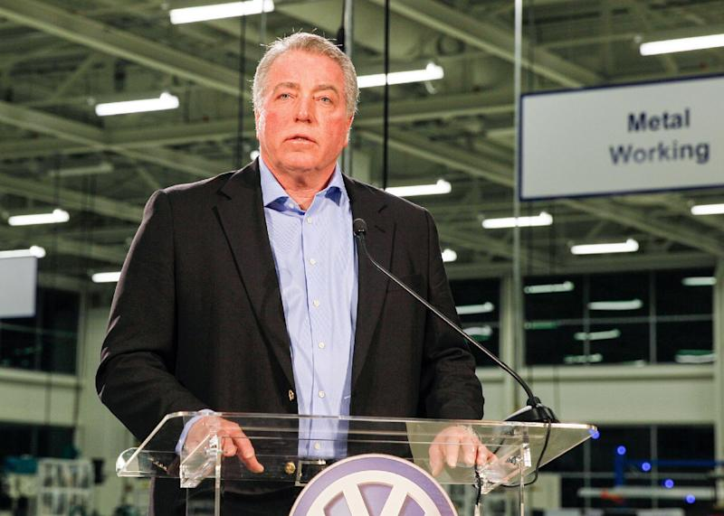 Gary Casteel, a regional director for the United Auto Workers, discusses the union's loss in a union election at the Volkswagen plant in Chattanooga, Tenn., on Friday, Feb. 14, 2014. The 712 to 626 vote is a devastating blow to the union and its efforts to organize other Southern plants run by foreign automakers. (AP Photo/Erik Schelzig)