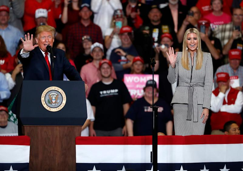 Ivanka Trump, right, waves as she is introduced by President Donald Trump speaks during a campaign rally Monday, Nov. 5, 2018, in Cape Girardeau, Mo. (Photo: Jeff Roberson/AP)