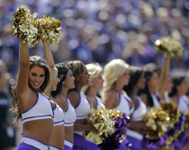 The Baltimore Ravens cheerleaders perform in the first half of their NFL football game against the Cleveland Browns in Baltimore September 15, 2013. REUTERS/Gary Cameron (UNITED STATES - Tags: SPORT FOOTBALL)