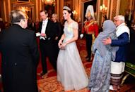 <p>Kate wore a stunning custom gown by Jenny Packham.</p>