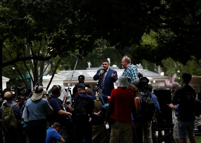 <p>White nationalist leader Jason Kessler speaks during a rally marking the one year anniversary of the 2017 Charlottesville 'Unite the Right' protests, in Washington, D.C. August 12, 2018. (Photo: Jim Urquhart/Reuters) </p>