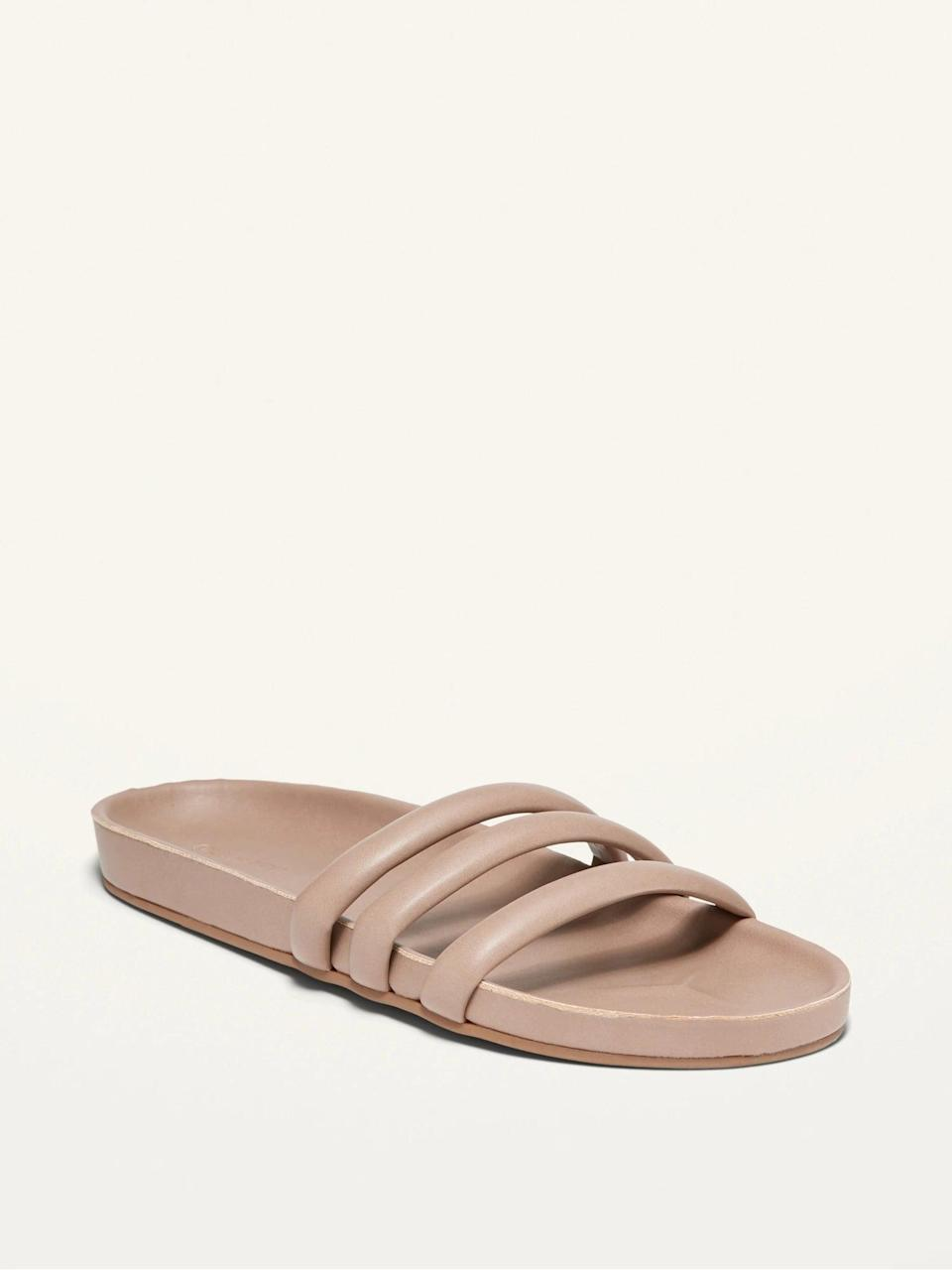<p>Slip on these stylish yet casual <span>Faux-Leather Triple-Strap Slide Sandals</span> ($25). They come in white, blush pink, warm brown, and black.</p>