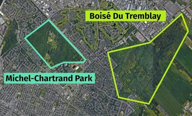 At its closest points, Michel-Chartrand park is hardly a kilometre from the Boisé Du Tremblay, where annual hunting is allowed. Next to the Boisé is a vast stretch of farmland.