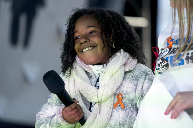 <p>Yolanda Renee King, grand daughter of Martin Luther King Jr., speaks during the 'March for Our Lives' rally in support of gun control in Washington, Saturday, March 24, 2018. (AP Photo/Andrew Harnik) </p>