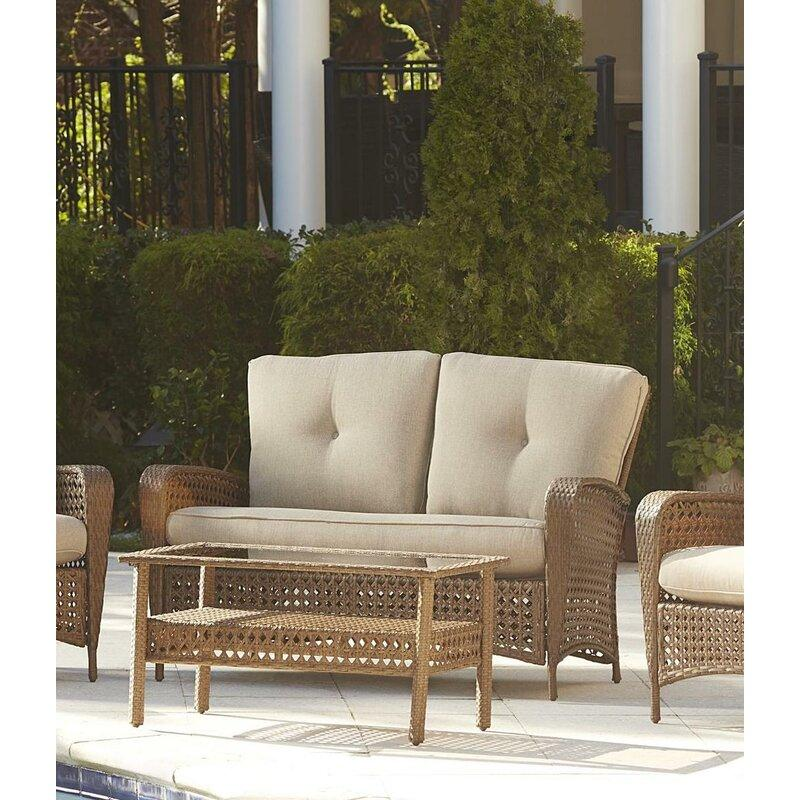 Vincenza Outdoor 2 Piece Sofa Seating Group with Cushions. Image via Wayfair.