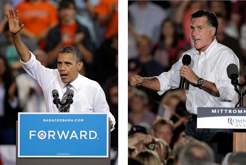 FILE - In these Sept. 26, 2012, file photo, President Barack Obama and Republican presidential candidate Mitt Romney both campaign in the battleground state of Ohio. Fierce and determined competitors, Obama and Romney each have a specific mission for the string of three debates that starts Wednesday night, Oct. 3, 2012. Obama, no longer the fresh face of 2008, must convince skeptical Americans that he can accomplish in a second term what he couldn't in his first: restore the U.S. economy to full health. Romney, anxious to keep the race from slipping away, needs to instill confidence that he is a credible and trusted alternative to the president, with a better plan for strengthening the fragile economy. (AP Photos)