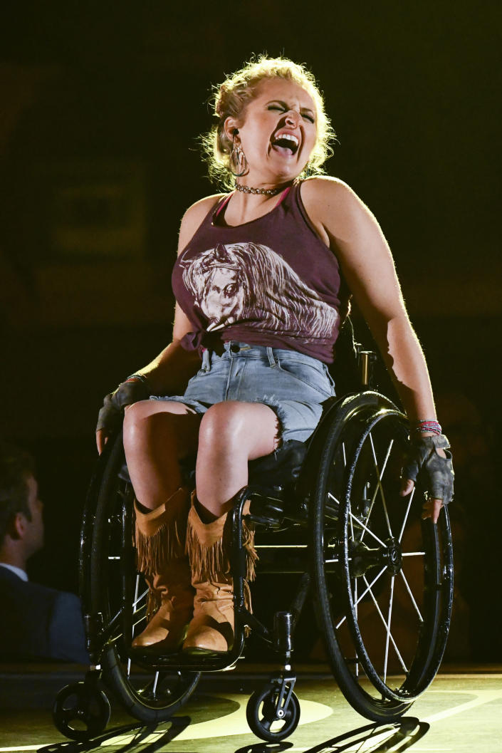 """Ali Stroker, of """"Oklahoma!,"""" performs at the 73rd annual Tony Awards at Radio City Music Hall on Sunday, June 9, 2019, in New York. (Photo by Charles Sykes/Invision/AP)"""
