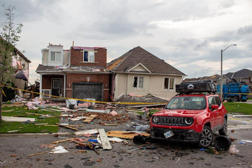 """<span class=""""caption"""">Some of the worst damage from the EF-2 tornado that struck the Ontario city of Barrie on July 15.</span> <span class=""""attribution""""><span class=""""source"""">(Northern Tornadoes Project)</span>, <span class=""""license"""">Author provided</span></span>"""
