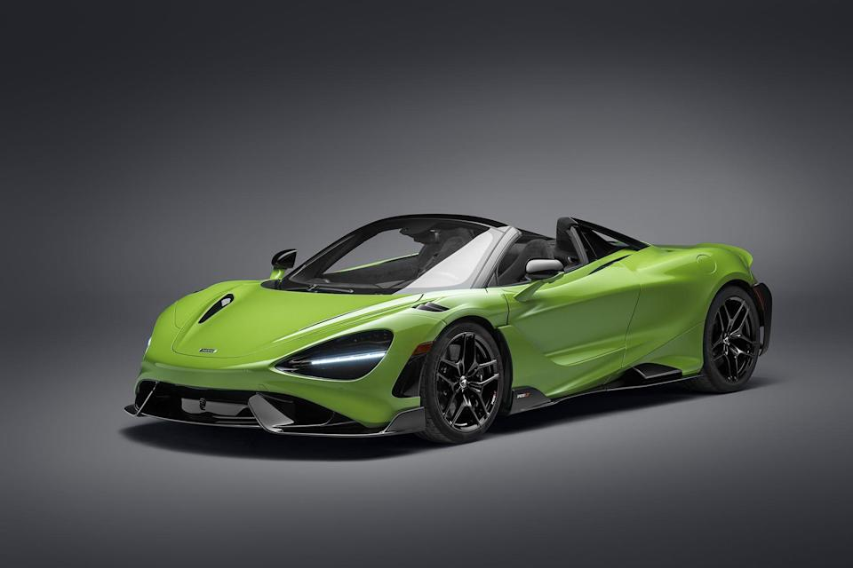 """<p>The 765LT Spider is the newest open-top track weapon from McLaren, boasting the same 755-horsepower drivetrain as its fixed-roof counterpart. There's a bespoke bodykit, bigger brakes, stickier tires, and more aero too. Just 765 examples will be built, priced from $382,500.</p><p><a class=""""link rapid-noclick-resp"""" href=""""https://www.roadandtrack.com/news/a37143241/2022-mclaren-765lt-spider/"""" rel=""""nofollow noopener"""" target=""""_blank"""" data-ylk=""""slk:See the full story right here"""">See the full story right here</a></p>"""