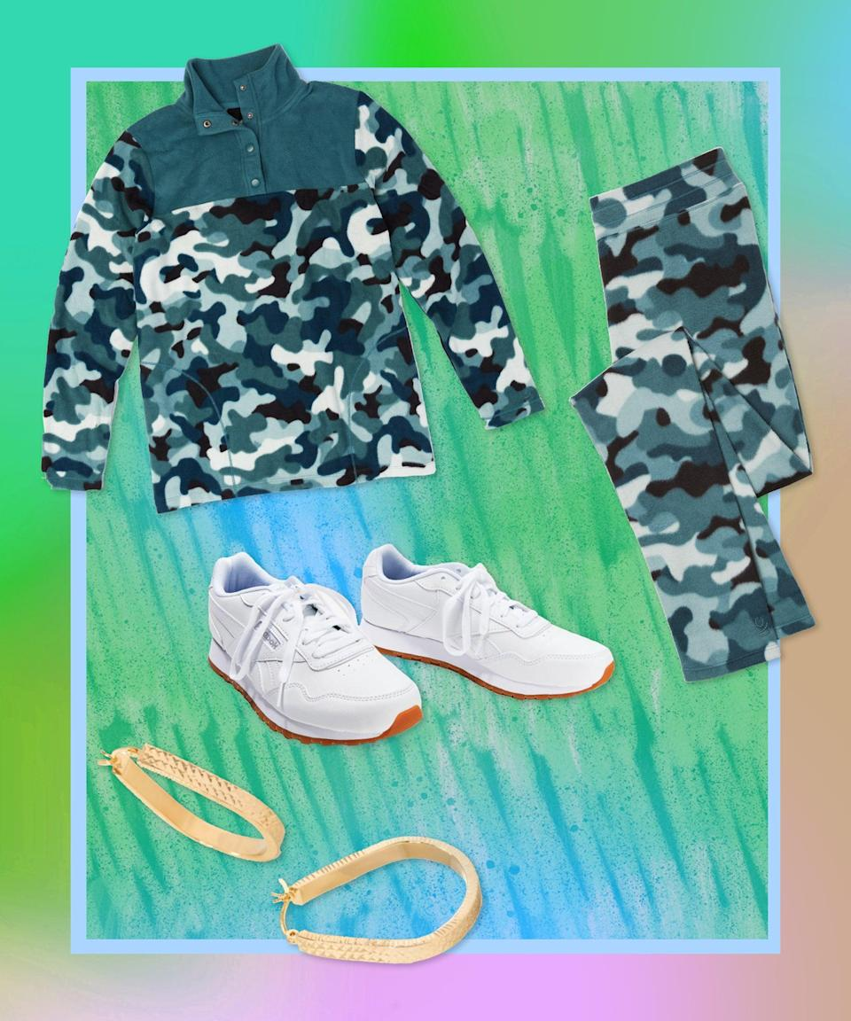 """If there was ever a time for a fleecy, camo-print tracksuit, it's now (on the couch, in the house, etc.). Keep the rest of the situation simple with a clean white sneaker and hoops, because when your fit is this big — and this insanely comfy — there's no need for much else.<br><br><strong>Cuddl Duds</strong> Fleecewear Stretch Snap-Front Pullover, $, available at <a href=""""https://go.skimresources.com/?id=30283X879131&url=https%3A%2F%2Fwww.qvc.com%2FCuddl-Duds-Fleecewear-Stretch-Snap-Front-Pullover.product.A381756.html"""" rel=""""nofollow noopener"""" target=""""_blank"""" data-ylk=""""slk:QVC"""" class=""""link rapid-noclick-resp"""">QVC</a><br><br><strong>Cuddl Duds</strong> Fleecewear Stretch Leggings, $, available at <a href=""""https://go.skimresources.com/?id=30283X879131&url=https%3A%2F%2Fwww.qvc.com%2FCuddl-Duds-Fleecewear-Stretch-Leggings.product.A342094.html"""" rel=""""nofollow noopener"""" target=""""_blank"""" data-ylk=""""slk:QVC"""" class=""""link rapid-noclick-resp"""">QVC</a><br><br><strong>Reebok</strong> Lace-Up Sneaker Harman Run, $, available at <a href=""""https://go.skimresources.com/?id=30283X879131&url=https%3A%2F%2Fwww.qvc.com%2FReebok-Classics-Lace-Up-Sneaker---Harman-Run.product.A372100.html%3Fsc%3DNAVLIST"""" rel=""""nofollow noopener"""" target=""""_blank"""" data-ylk=""""slk:QVC"""" class=""""link rapid-noclick-resp"""">QVC</a><br><br><strong>Gold One</strong> 1K Gold Diamond-Cut Pear-Shaped Hoop Earrings, $, available at <a href=""""https://go.skimresources.com/?id=30283X879131&url=https%3A%2F%2Fwww.qvc.com%2FGold-One-1K-Gold-Diamond-Cut-Pear-Shaped-Hoop-Earrings.product.J365825.html%3Fsc%3DNAVLIST"""" rel=""""nofollow noopener"""" target=""""_blank"""" data-ylk=""""slk:QVC"""" class=""""link rapid-noclick-resp"""">QVC</a>"""