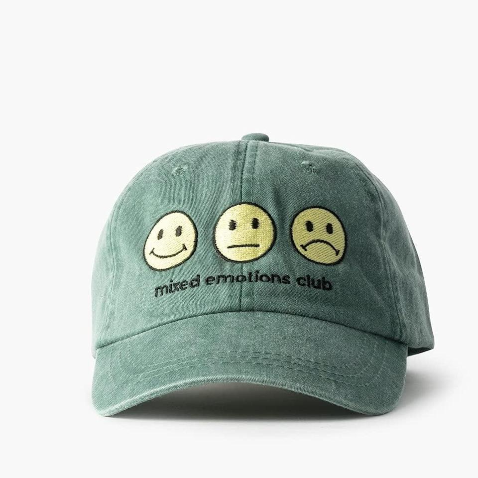 <p>This <span>Feminist Goods Co. Mixed Emotions Hat</span> ($32) says what we're all feeling. Plus, it protects your face from the sun!</p>