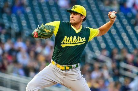 FILE PHOTO: Aug 24, 2018; Minneapolis, MN, USA; Oakland Athletics starting pitcher Sean Manaea (55) throws a pitch against the Minnesota Twins during the first inning at Target Field. Mandatory Credit: Jeffrey Becker-USA TODAY Sports