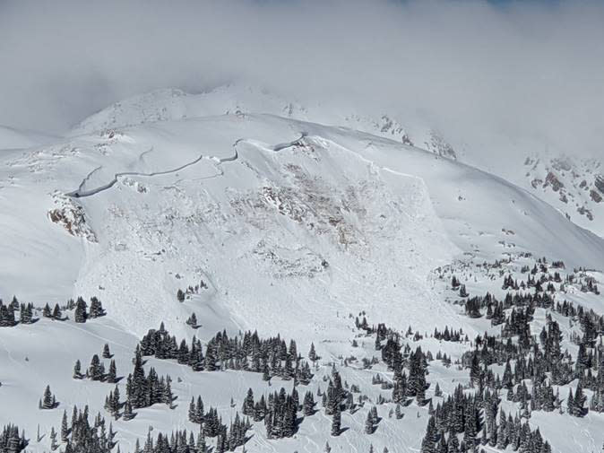 This image provided by Colorado Avalanche Information Center shows an avalanche that killed an unidentified snowboarder on Sunday, Feb. 14, 2021, near the town of Winter Park in Colorado. The deaths of two Colorado men caught in avalanches and a third in Montana over the frigid Presidents Day weekend underscore the danger of backcountry conditions in the Rocky Mountains, where skiers and snowboarders risk triggering exceptionally weak layers of snow that are the most hazardous conditions in a decade (Colorado Avalanche Information Center via AP)
