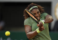 United States Serena Williams plays a return to Romania's Mihaela Buzarnescu during their second round match on day four of the French Open tennis tournament at Roland Garros in Paris, France, Wednesday, June 2, 2021. (AP Photo/Thibault Camus)