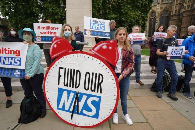 NHS waiting lists protest