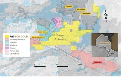Figure 2. Pacton Gold's Red Lake Gold Project claim map showing other active projects and the Madsen-Dixie fault corridor. (CNW Group/Pacton Gold Inc.)