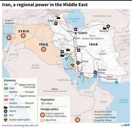 Map of Iran and region with military and economic data