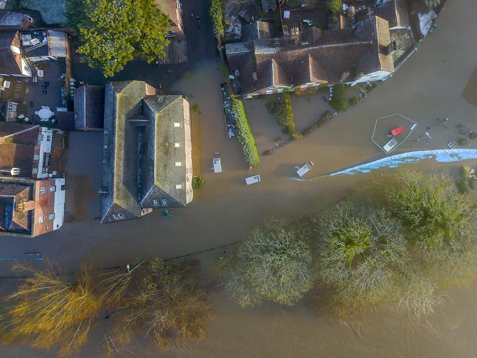 Aerial view of flooding along the river Severn at Bewdley where despite the efforts by the environment agency (SWNS)