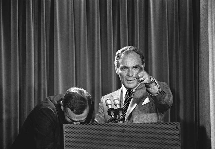 <p>Alexander Haig, President Nixon's chief of staff, tells a White House news briefing that Nixon's surrender of the Watergate tapes to U.S. District Court Judge John Sirica didn't stem solely from fear of impeachment, Oct. 23, 1973, in Washington. (Photo: AP) </p>