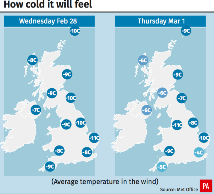 <em>Wind chill will make it feel even colder (PA)</em>