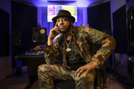 Rapper Mystikal poses for a portrait in Baton Rouge, La. on Jan. 22, 2021. Mystikal, whose birth name is Michael Lawrence Tyler, wants to make changes to his career — and life — as he tries to find harmony beyond a troubled past. He plans to start work on a live instrumentation project. (AP Photo/Rusty Costanza)