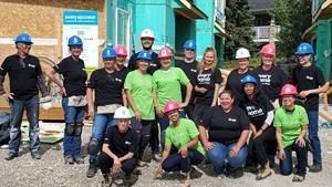 Revera employees support Habitat for Humanity by raising funds and by volunteering for Habitat Build Days, like this Revera crew in Calgary in September 2019.