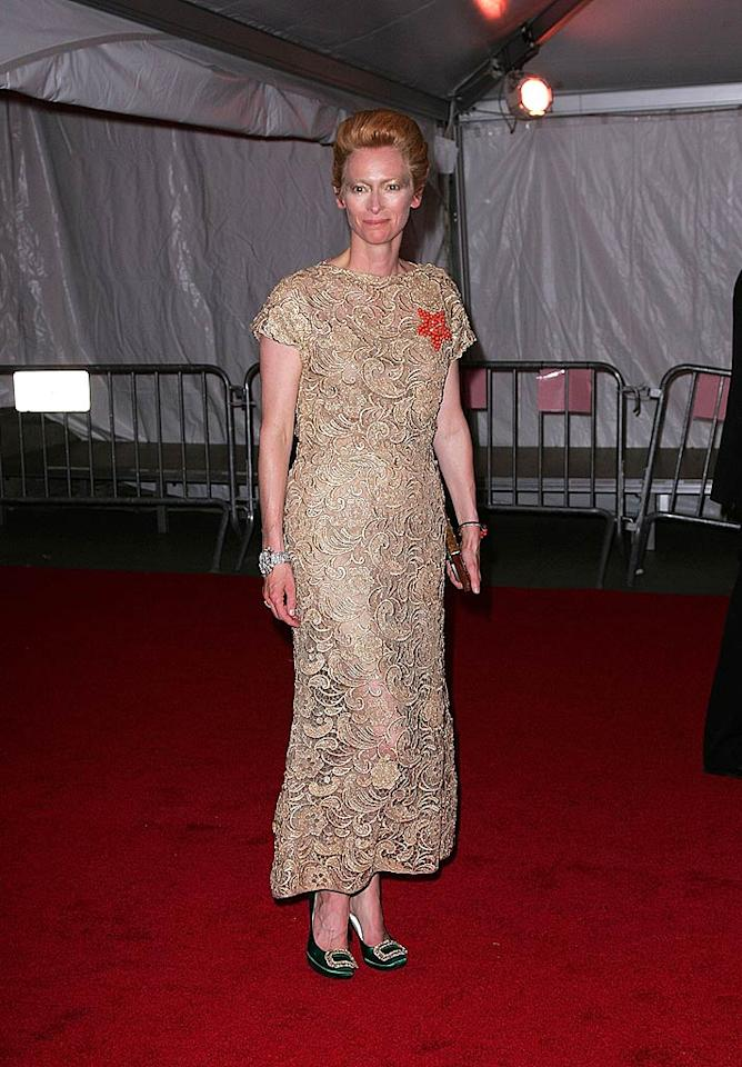 """Perhaps Oscar winner Tilda Swinton is campaigning for a starring role in the remake of """"The Bride of Frankenstein""""? Yikes! James Devaney/<a href=""""http://www.wireimage.com"""" target=""""new"""">WireImage.com</a> - May 5, 2008"""