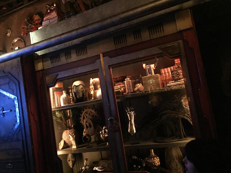 <p>When he captured the Guardians, Tivan added Peter Quill's vintage Walkman (upper right shelf) to the collection of relics in his private study. Fortunately for Star-Lord (and Mission: Breakout!'s soundtrack), Rocket makes sure not to leave the music player behind. (Photo: Marcus Errico/Yahoo Movies) </p>