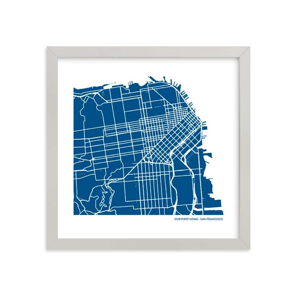 """A custom map of where they were born and where they met makes for a seriously unique engagement gift. And if they just moved in together, this framed piece is an easy way to make a barren wall or countertop feel personal. $56, Minted. <a href=""""https://www.minted.com/product/custom-map-printing/MIN-XXC-MDA/custom-filled-map-art?color=A&org=photo&shape="""" rel=""""nofollow noopener"""" target=""""_blank"""" data-ylk=""""slk:Get it now!"""" class=""""link rapid-noclick-resp"""">Get it now!</a>"""