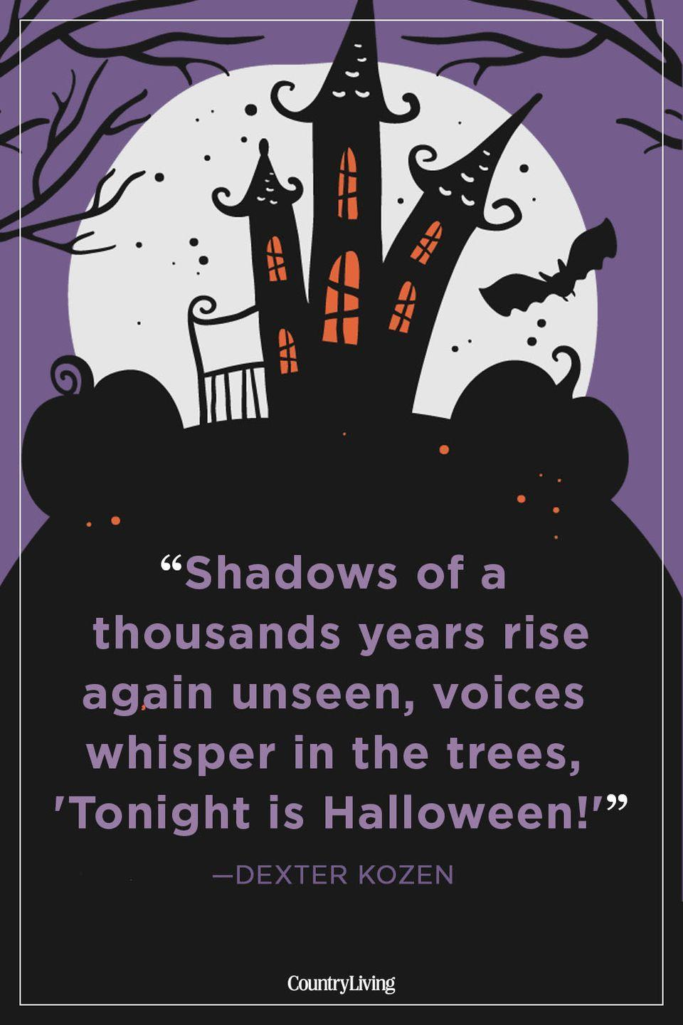 """<p>""""Shadows of a thousands years rise again unseen, voices whisper in the trees, 'Tonight is Halloween!'""""</p>"""