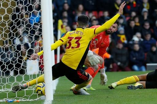 Watford?s Ignacio Pussetto clears the ball off the line during the closing minutes of the Premier League match against Tottenham