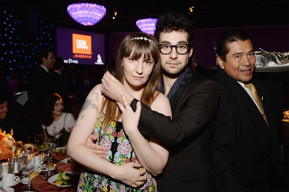 Lena Dunham (L) and recording artist Jack Antonoff attend Pre-GRAMMY Gala and Salute to Industry Icons Honoring Debra Lee on February 11, 2017 in Los Angeles, California.  (Photo by Michael Kovac/WireImage)