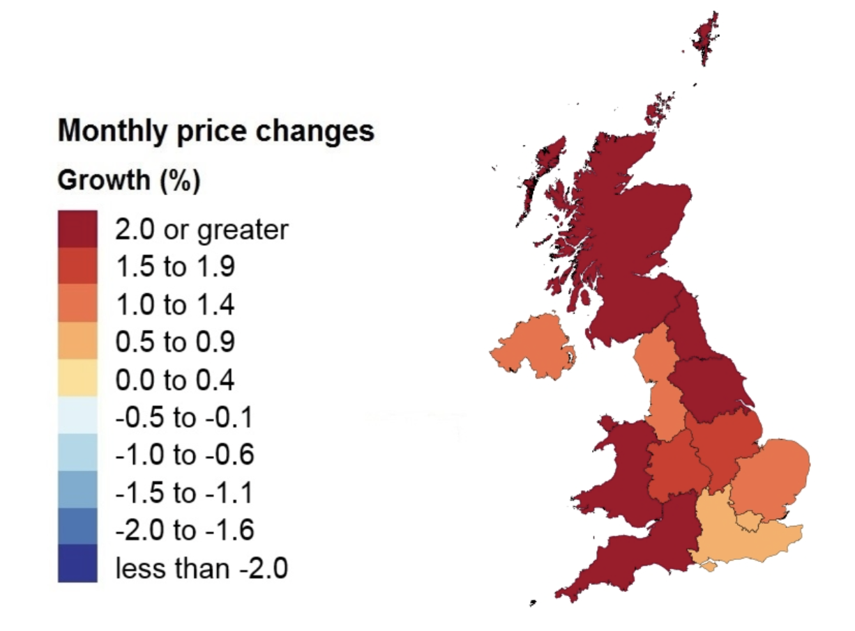Price changes by country and government office region. Image: ONS