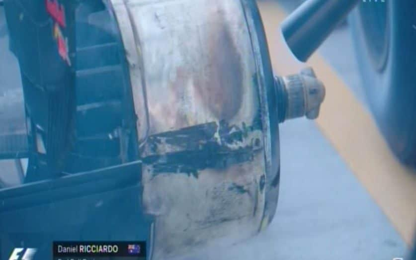 Ricciardo's burning brakes - Credit: Sky Sports F1