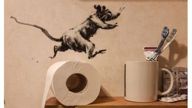 Banksy brought a clan of mischievous mice to life in his own bathroom using his art .