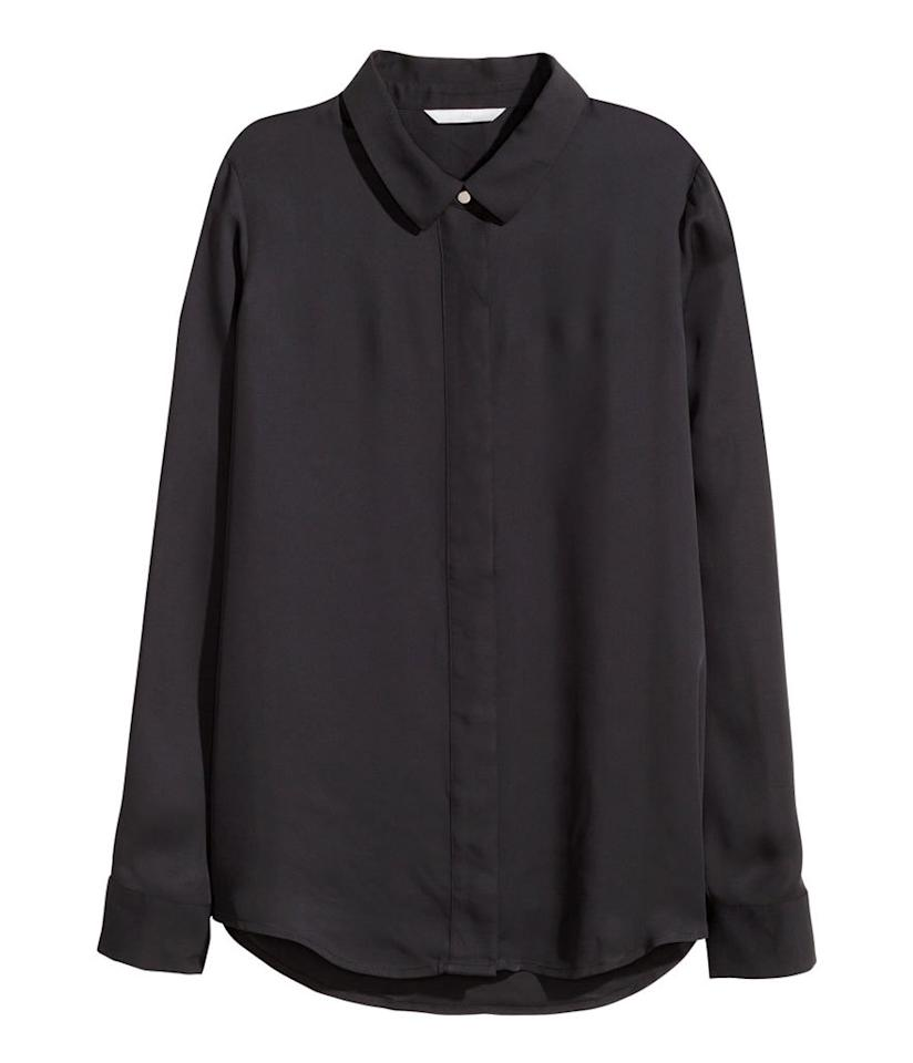 "<p>H&M Long-Sleeved Blouse in Black, $25, <a href=""http://www.hm.com/us/product/19704?article=19704-E"">hm.com</a></p>"