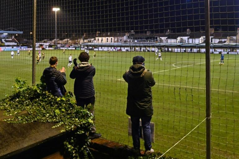Supporters watched on from their gardens with Marine's Rossett Park closed due to coronavirus restrictions